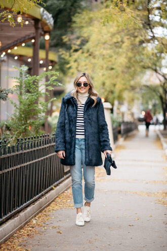 bows&sequins blogger coat sweater jeans sunglasses shoes bag winter outfits fur coat faux fur coat sneakers striped sweater