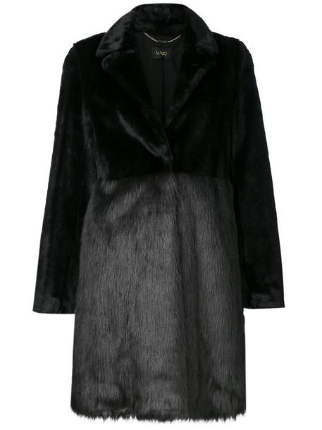 LIU JO coat fur coat fur women classic black
