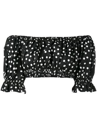 top cropped women cotton print black