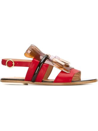 shoes flat sandals red sandals