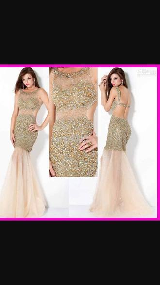 dress gold dress sequin dress beaded dress backless prom dress
