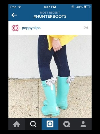 shoes hunter boots hunter rain boots yellow coat bow shoes turquoise
