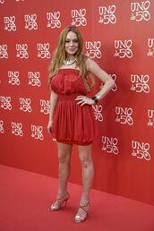 dress,red dress,red,strapless,strapless dress,sandals,mini dress,lindsay lohan