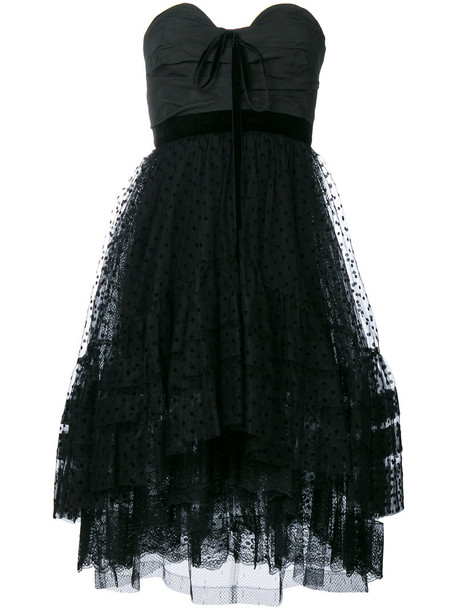 dress tulle dress strapless women black
