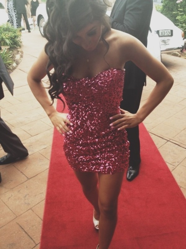 Dress: pink, sparkle, pink sparkly dress, bodycon dress, pink ...