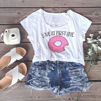 t-shirt jazrox donut hipster style girly cool neon trendy cute tumblr girl dope pretty summer summer outfits fashion crop tops crop lookbook pastel urban swag quote on it