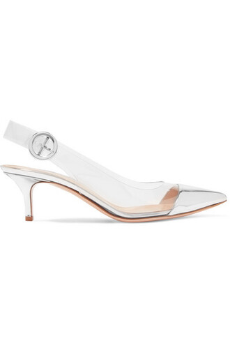 pumps silver leather shoes