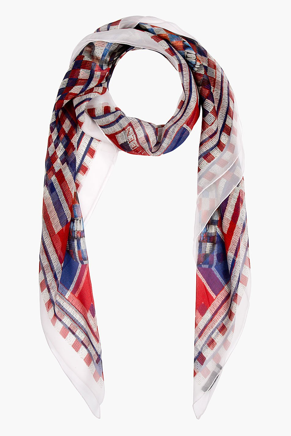 Blue jeans white pumps red beaded scarf inner coverneck b ready
