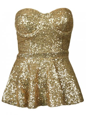 Gold Sequin Strapless Bandeau Padded Peplum Dress