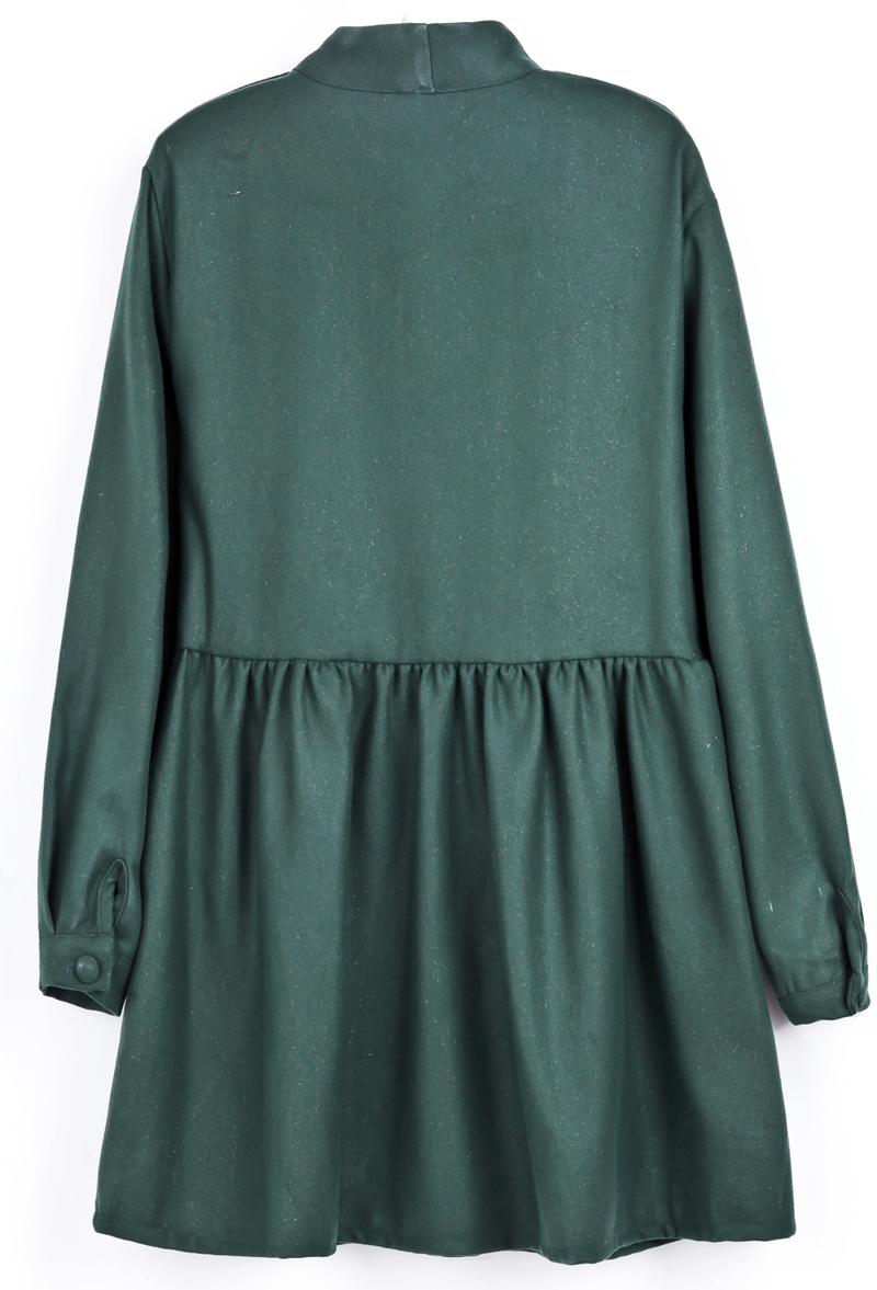 Green Long Sleeve Bow Pleated Buttons Dress - Sheinside.com