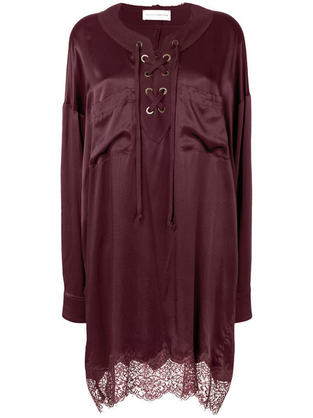 Faith Connexion dress shirt dress women lace silk purple pink