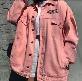 jacket denim pink pastel pastel pink white pastel goth urban pastel pink korean fashion light pink