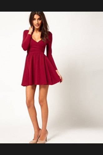 dress skater dress sleeves ballet wrap winter outfits red short v neck burgundy dress burgundy long sleeves red dress