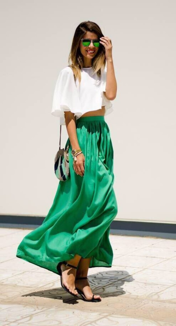skirt green long skirt green maxi skirt maxi skirt green skirt silk skirt blouse green maxi summer