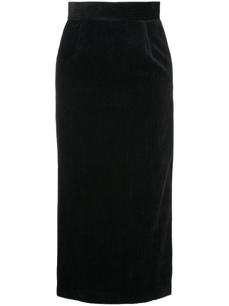 Estnation - corduroy midi skirt - women - Cotton - 36, Blue, Cotton