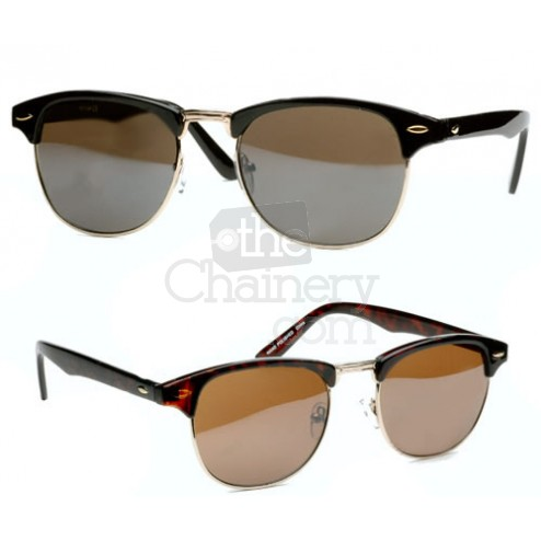 Clubmaster half rim sunglasses tortoise shell & gold or black & gold