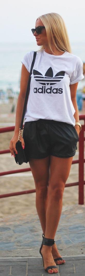blouse adidas shorts leather black leather shorts shirt t-shirt girl pretty white cute short black short shorts short distressed denim shorts short dress cut off shorts flowered shorts short overalls