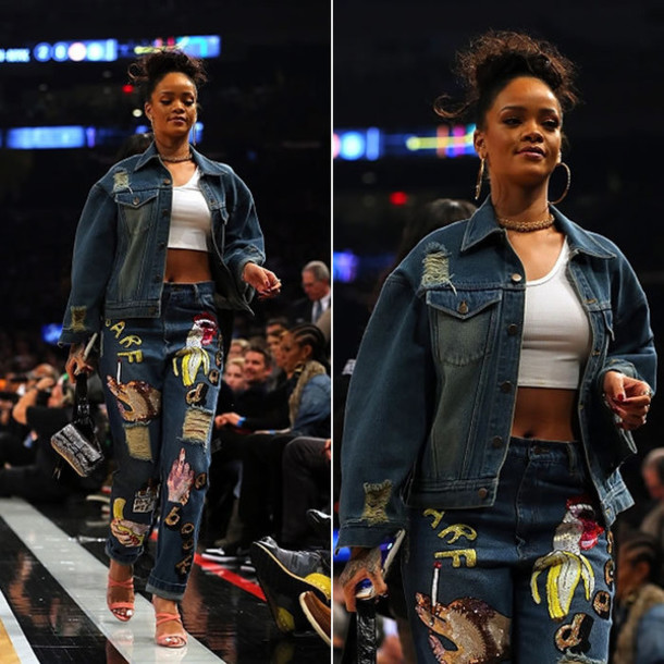jeans jacket denim rihanna