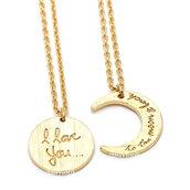 jewels,bestfriend necklace,friendship necklace,jewelry,necklace,woman necklace,i love you necklace,moon necklace,crest necklace,to the moon and back,eternity necklace,love necklace,anarchy street