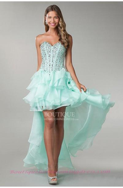 dress prom high low corset glass ruffle pretty so pretty
