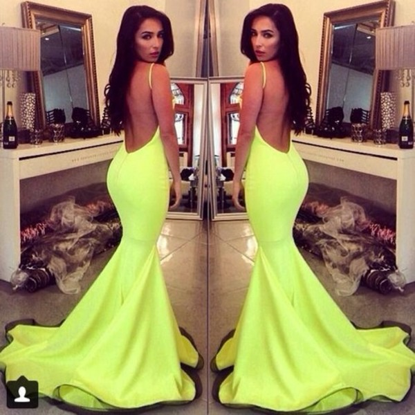 dress celebrity style lime mermaid prom dress neon yellow dress prom backless dress mermaid prom dress spaghetti strap formal dress prom dress evening dress Ww.ebonylace.storenvy.com green dress white dress