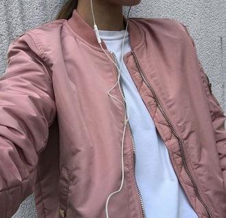 jacket bomber jacket white top pink pink bomber jacket