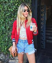 jacket,tommy hilfiger,bomber jacket,red jacket,top,white top,lace top,denim,denim shorts,sunglasses,bag,brown bag
