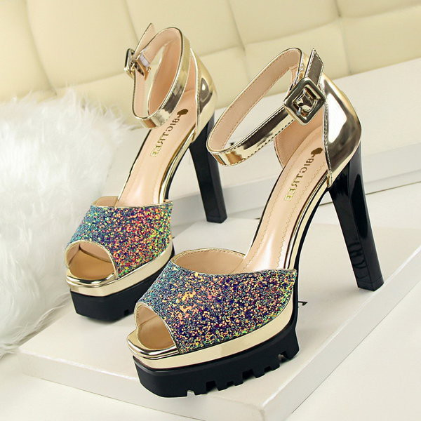 shoes shanghaitrends ss16 glitter glitter shoes cleated sole chunky heels chunky sole open toes high heels ankle strap heels pumps
