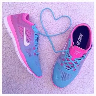 shoes pink ombre purple nike blue