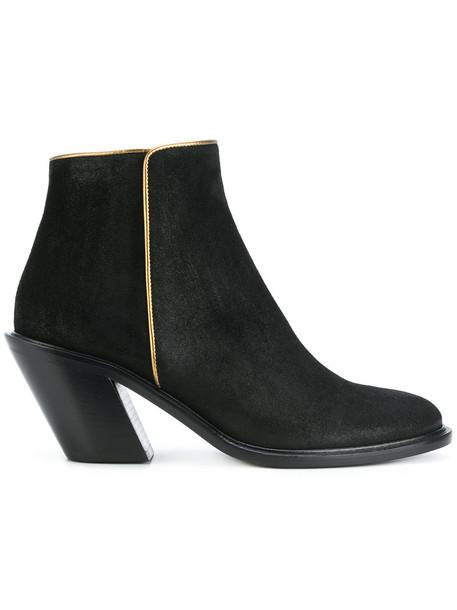 A.F.VANDEVORST women ankle boots gold leather suede black shoes