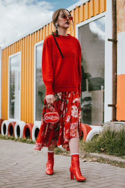 shoes tumblr all red wishlist dress midi dress floral floral dress sweater over dress red sweater sweater bag sunglasses monochrome outfit