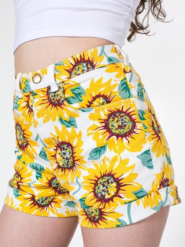 shorts short sunflower floser flowers american  apparel