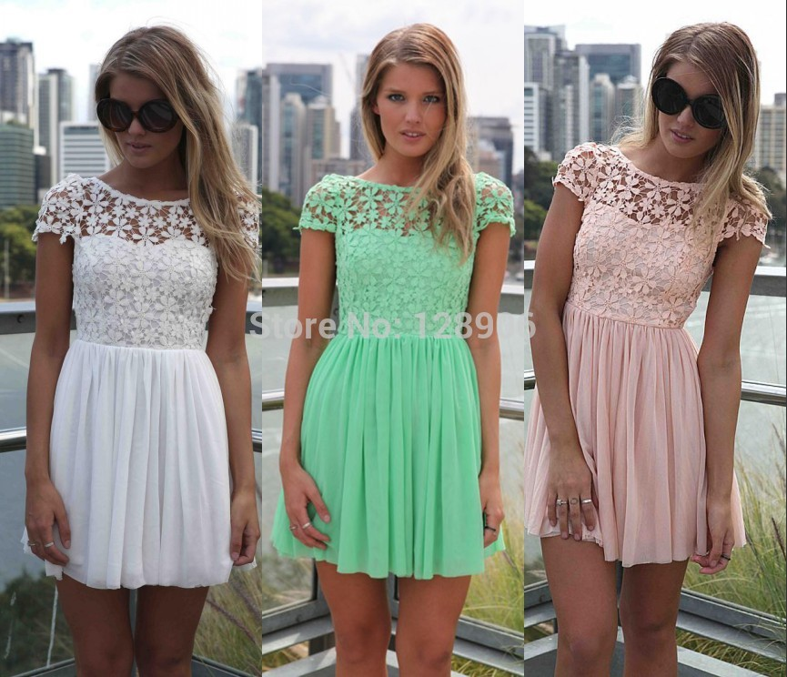 Aliexpress.com : Buy Summer 2014 New Designer Saias Fashion Femininas Casual White Short Sleeve Club Floral Party Crochet Pleated Lace Dress Women from Reliable lace sleep dress suppliers on Babyzone