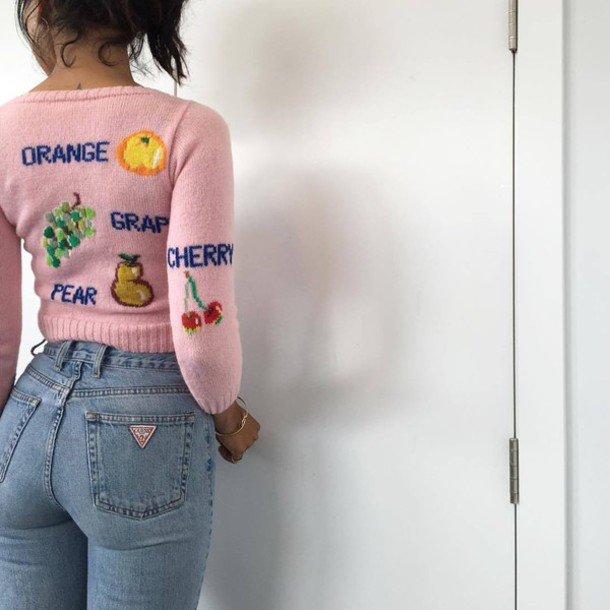 sweater light pink cute sweater pink fruits jeans high waisted jeans vintage dope pink sweater knitted sweater cherry blouse denim guess pink black hoodie cute grapes orange purple blue fruit shirt tumblr tumblr outfit tumblr girl sweater weather pastel pastel pink fruits cropped sweater