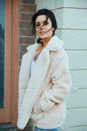 coat,tumblr,white coat,teddy bear coat,fuzzy coat,cozy,winter coat