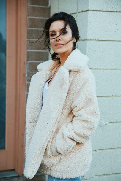 coat tumblr white coat teddy bear coat fuzzy coat cozy winter coat