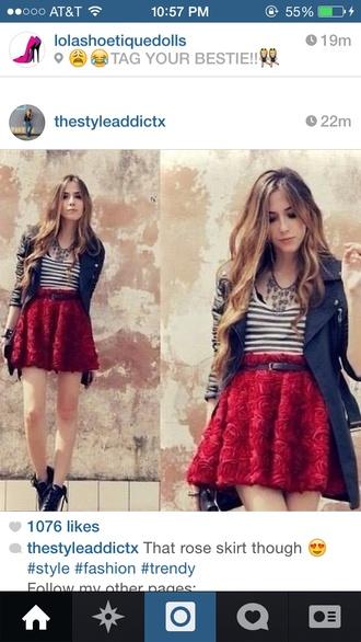 skirt rose skirt red skirt roses flare skirt fashion