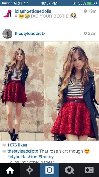 skirt red skirt rose skirt roses flare skirt fashion
