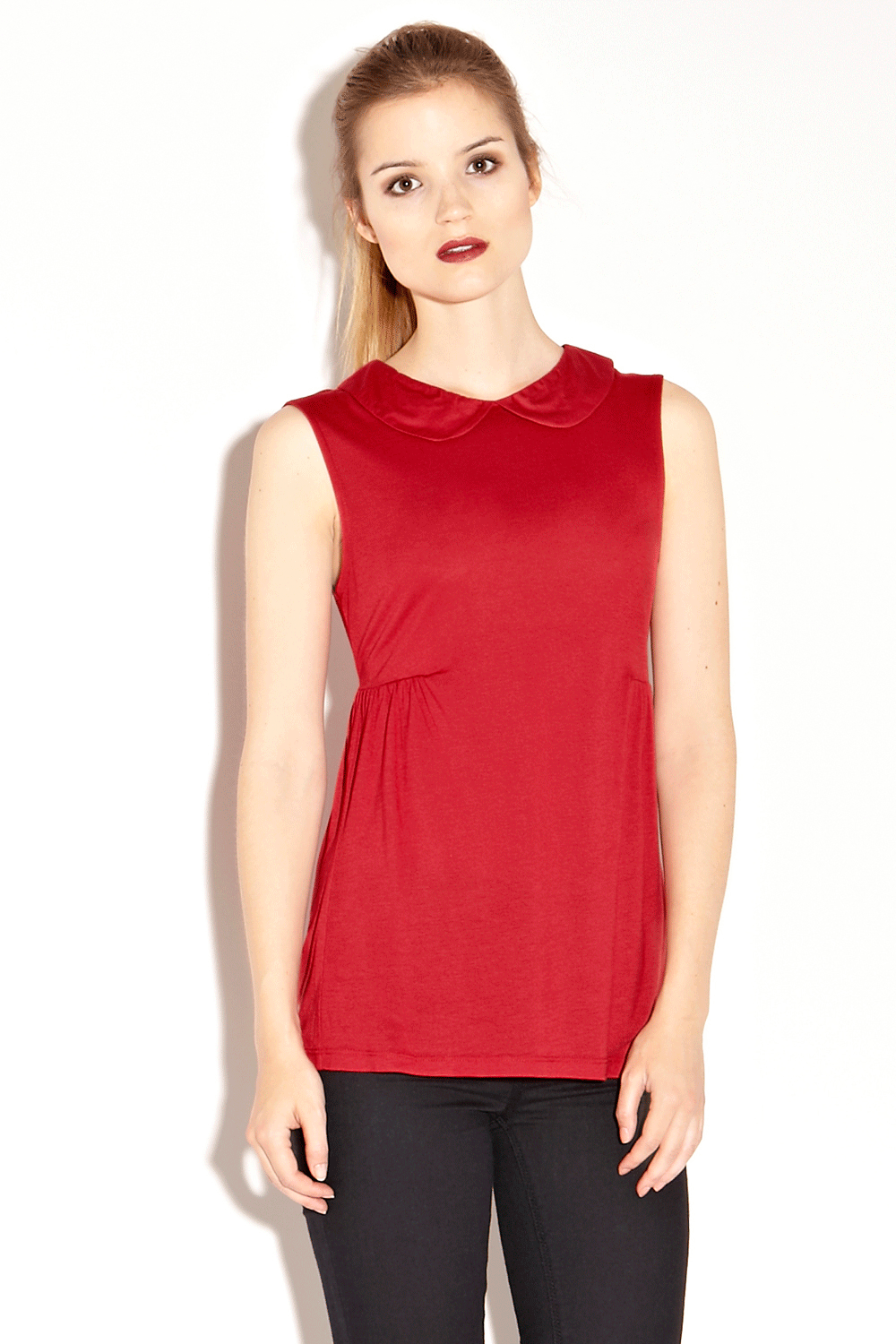 Warehouse Definitives |  BRIGHT RED Peter Pan Shell Top | Fashion Clothing | Warehouse Fashions