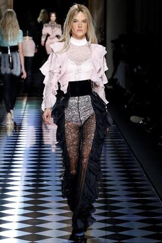blouse top pants alessandra ambrosio balmain fashion week 2016 paris fashion week 2016 runway model lace
