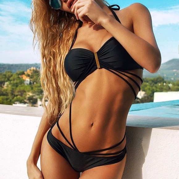 swimwear black black swimwear swimsuit model