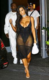 dress,kim kardashian,kim kardashian dress,kim kardashian style,kim kardashian nude dress,black dress,black,sheer,sheer lingerie,hot,sexy,sexy dress,sexy lingerie,hour glass  mesh,skirt,mesh,bodysuit