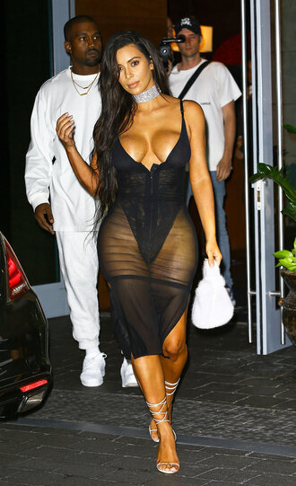 dress kim kardashian kim kardashian dress kim kardashian style kim kardashian nude dress black dress black sheer sheer lingerie hot sexy sexy dress sexy lingerie hour glass  mesh skirt mesh bodysuit