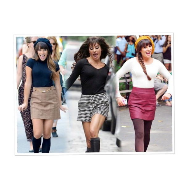 hat rachel berry glee lea michele sweater skirt blouse shoes beret tights