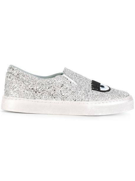 Chiara Ferragni women sneakers leather grey shoes