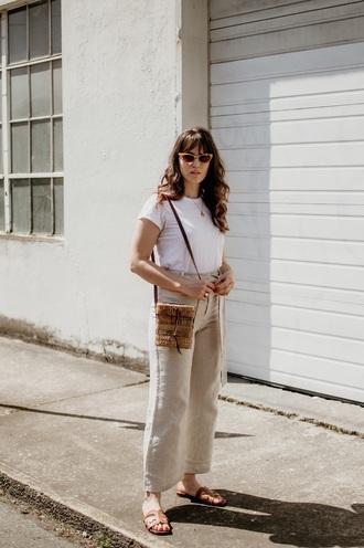 shoes pants nude pants sunglasses sandals flat sandals wide-leg pants white t-shirt t-shirt