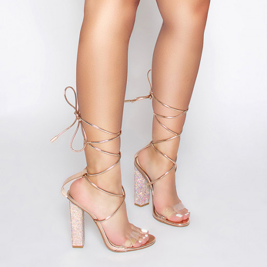 Clear Lace Up Diamante Heels