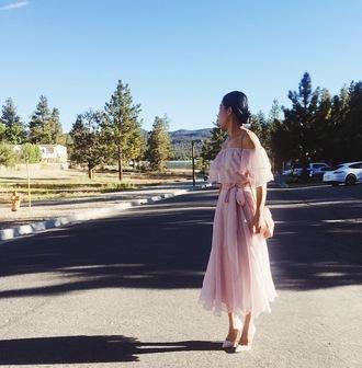 hallie daily blogger skirt shoes bag dress sunglasses off the shoulder pink dress ruffle pink bag shoulder bag pink heels all pink everything summer outfits
