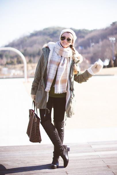 my blonde gal blogger coat jacket bag scarf jewels shoes sunglasses
