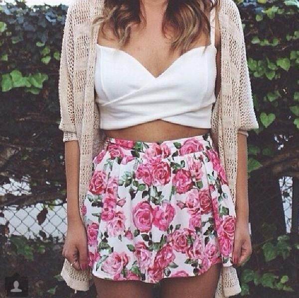 top summer crop tops style cardigan skirt jewels